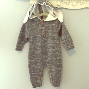 Other - Grey Sweater Knit Bunny Romper